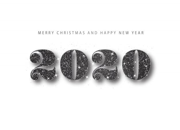 2020 feliz ano novo. número de glitter preto. banner de saudação de férias em estilo minimalista Vetor Premium