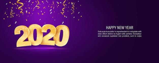 2020 feliz ano novo vetor web banner modelo Vetor Premium