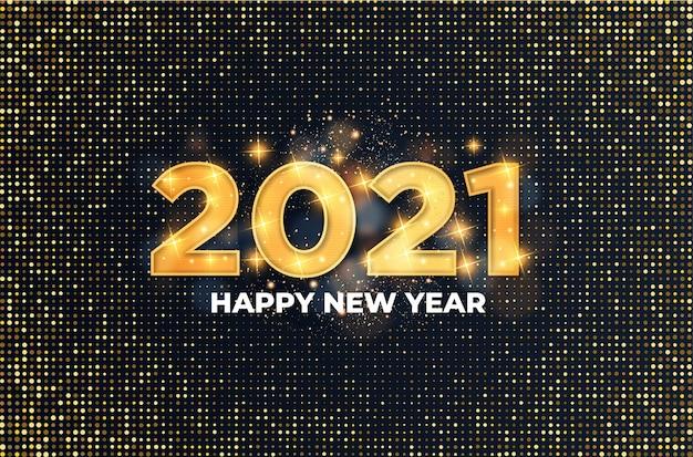 2021 cartão de feliz ano novo com efeito de texto dourado luxuoso Vetor grátis