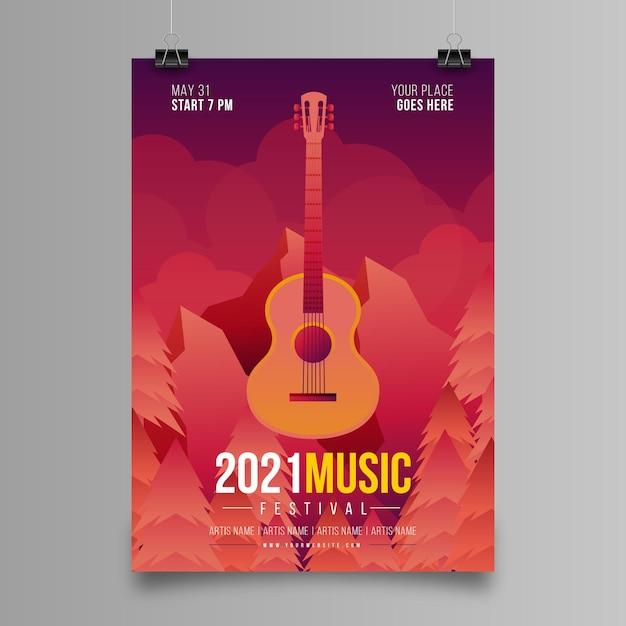 2021 cartaz ilustrado do festival de música Vetor grátis