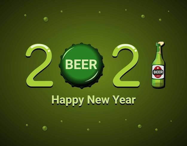 2021 comemoração de feliz ano novo com modelo de tema de símbolo de produto cerveja. conceito em vetor de ilustração de desenho animado Vetor Premium