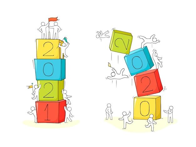 2021 conceito de feliz ano novo. ilustração do doodle dos desenhos animados com pessoas liitle. desenhado à mão para o projeto de natal. Vetor Premium