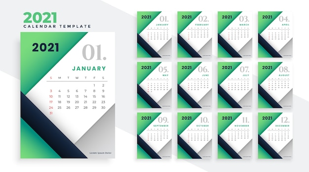 2021 feliz ano novo com design elegante de calendário verde Vetor grátis