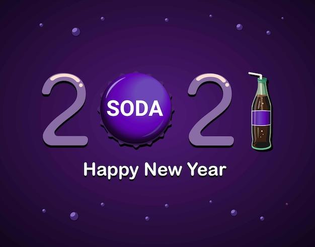 2021 feliz ano novo com garrafa de refrigerante roxo e bonés tema conceito ilustração vetorial Vetor Premium