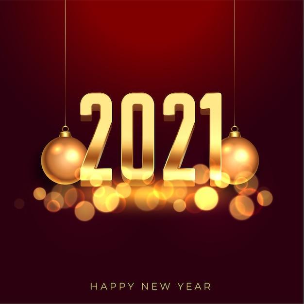 2021 feliz ano novo fundo dourado com bolas de natal Vetor grátis