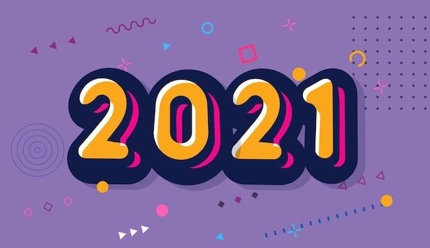 2021 fundo de feliz ano novo. estilo de quadrinhos. Vetor Premium