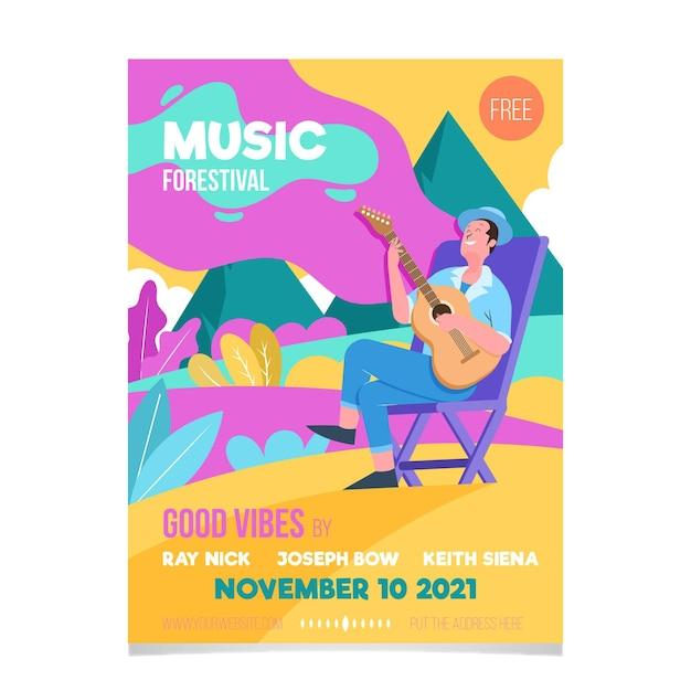 2021 ilustrado design de cartaz do festival de música Vetor grátis