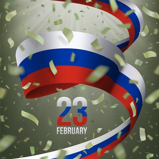 23 de fevereiro defensor russo do dia da pátria. cartão com confete voador cáqui, fita tricolor. Vetor Premium