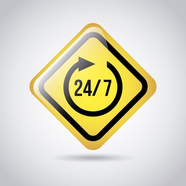 24-7 sinal sobre ilustração vetorial de fundo cinza Vetor Premium