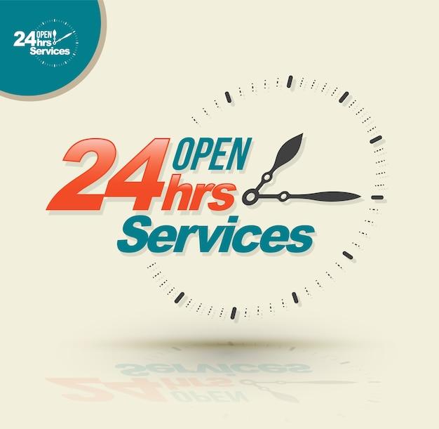 24 horas de serviços abertos. Vetor Premium
