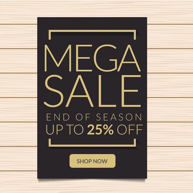 25% de desconto mega sale banner illustration Vetor Premium