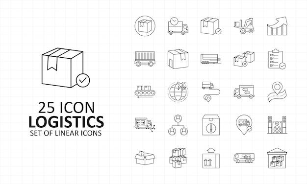 25 logística ícone folha pixel perfeito ícones Vetor Premium