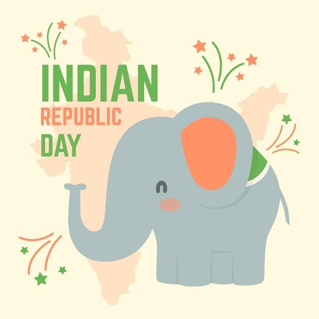 26 de janeiro dia nacional indiano e elefante Vetor grátis