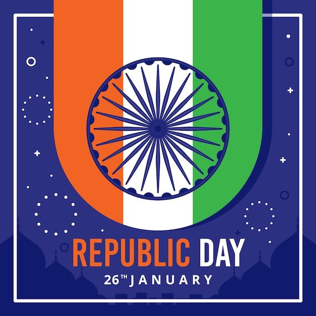 26 de janeiro dia nacional indiano e fogos de artifício Vetor grátis