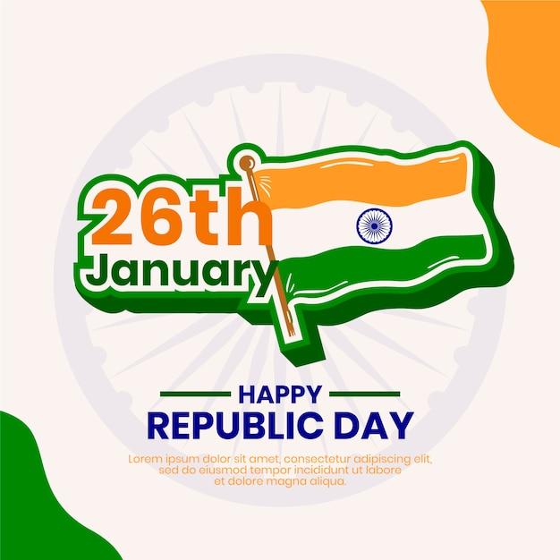 26 de janeiro e dia da independência da bandeira indiana Vetor grátis
