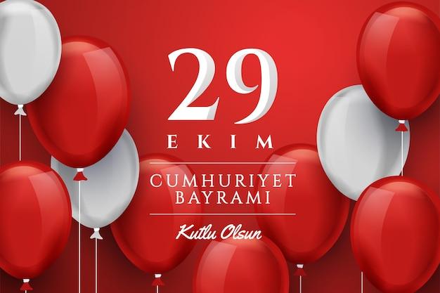 29 ekim com balões realistas Vetor grátis