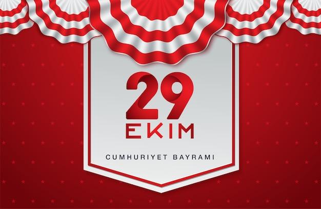 29 ekim cumhuriyet bayrami, dia da república da turquia Vetor Premium
