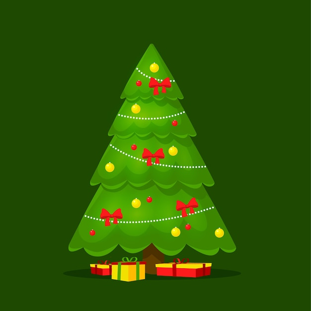 2d árvore de natal colorida Vetor grátis