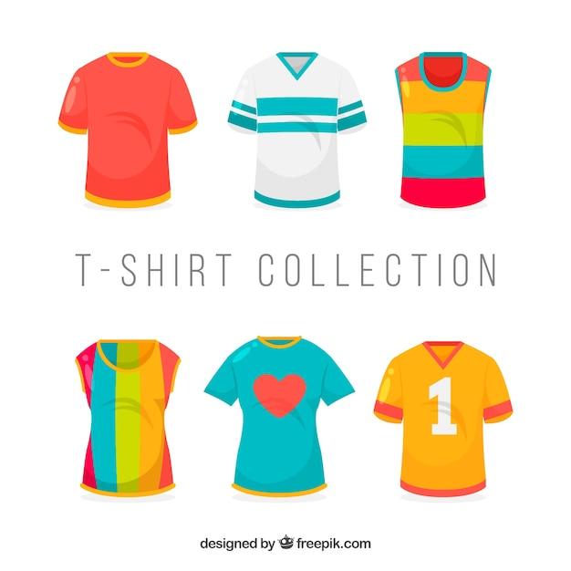 8561343df 2d coleção de camisetas em cores diferentes Vetor grátis
