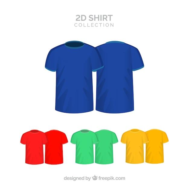 2d coleção de camisetas em cores diferentes Vetor grátis