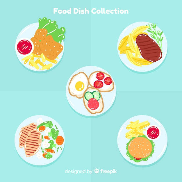 2d food dish collection Vetor grátis