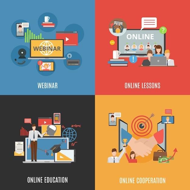 2x2 concept set of webinar icons Vetor grátis