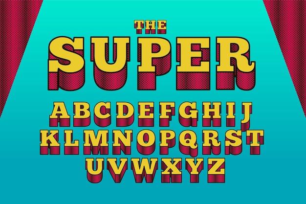 3 d estilo alfabético em quadrinhos Vetor grátis