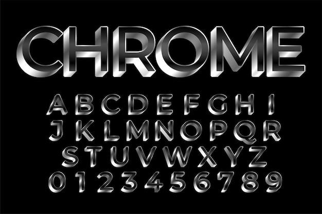 3 d prata brilhante texto conjunto de efeitos Vetor grátis