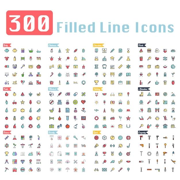 300 ícones de contorno preenchido Vetor Premium