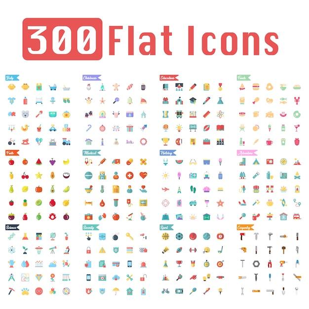 300 ícones planas vector Vetor Premium