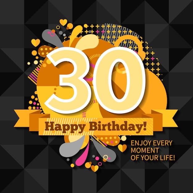 30o cartão do aniversário Vetor grátis