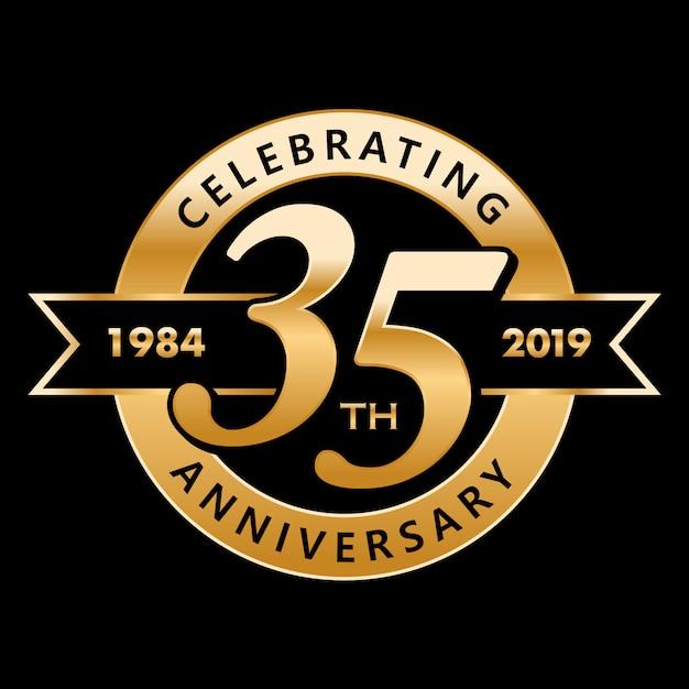35 anos de aniversário Vetor Premium
