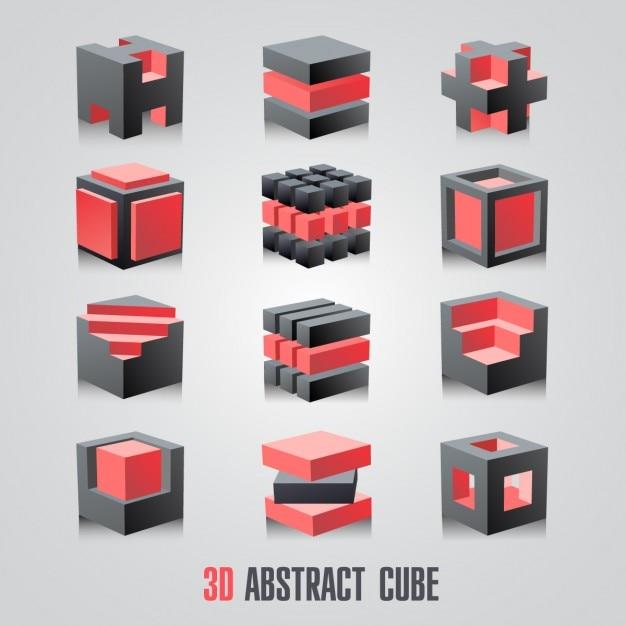 3d abstrato conjunto do cubo do logótipo Vetor grátis