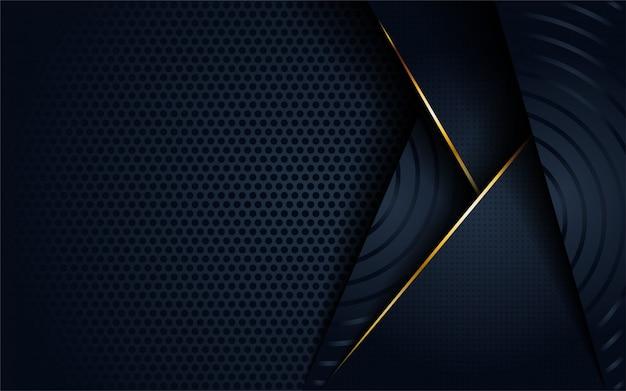 3d abstrato escuro moderno com forma de linha circular e dourada. Vetor Premium
