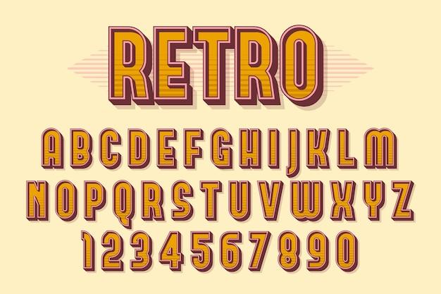 3d alfabeto retrô Vetor Premium