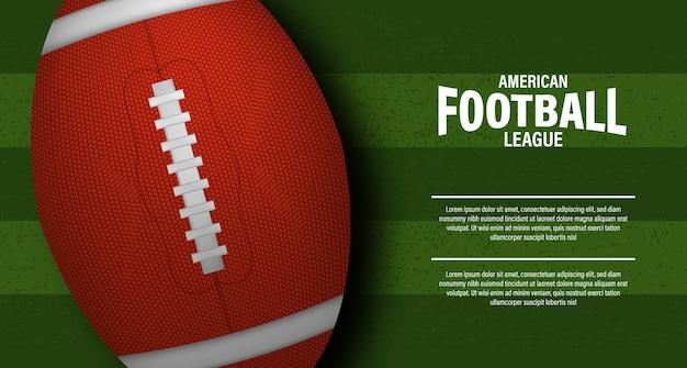 3d bola oval de rugby ou futebol americano no campo verde estádio vista superior para esporte torneio campeonato campeonato super bowl panfleto modelo Vetor Premium