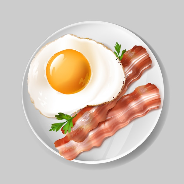 3d café da manhã inglês realístico - bacon saboroso, ovo frito com salsa verde na placa branca. Vetor grátis