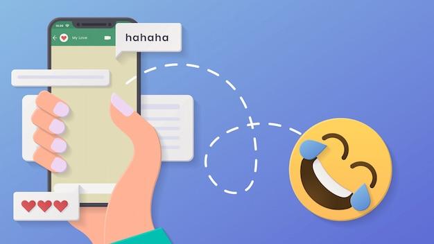 3d chat conversa fundo mínimo rosto lágrimas de alegria com estilo de corte de papel e design Vetor Premium