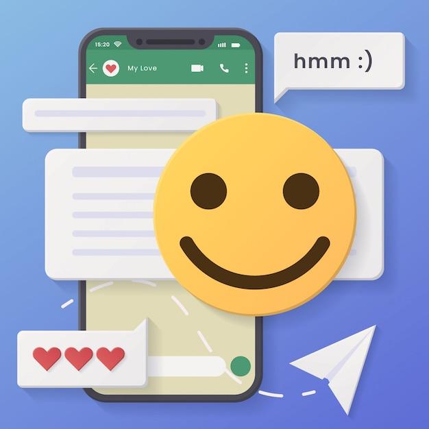3d chat conversação fundo mínimo rosto ligeiramente sorridente com estilo de corte de papel e design Vetor Premium