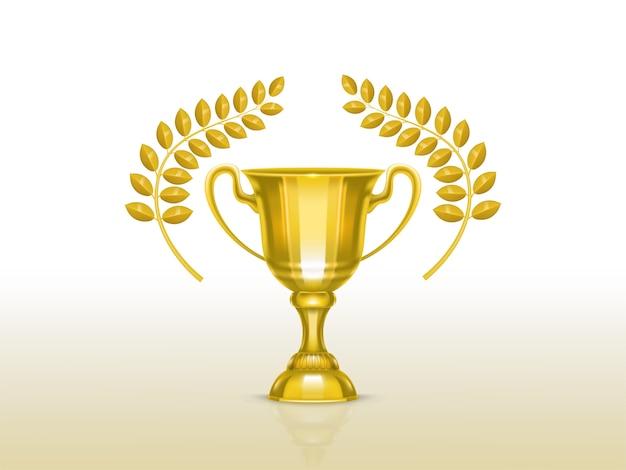 3d copo realista com ramos de oliveira, troféu de ouro para o vencedor da competição Vetor grátis