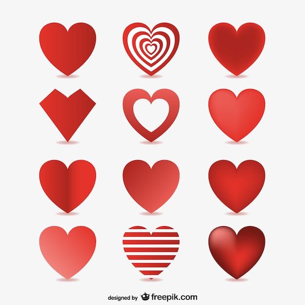3d corações vetores Vetor grátis