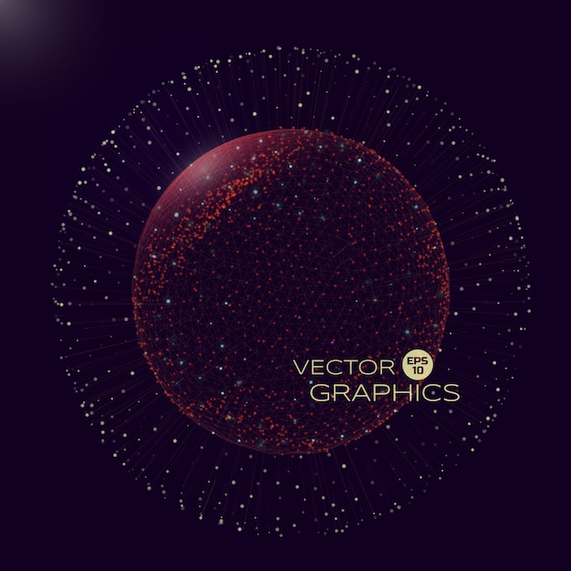 3d do objeto esférico no espaço do mundo micro ou macro. objeto isolado consiste em estrutura de arame e partículas com elementos de explosão. Vetor Premium