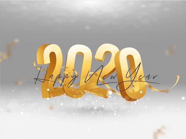 3d dourado 2020 com cartão de felicitações de fita de confete Vetor Premium
