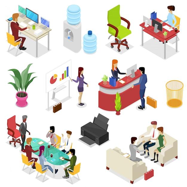 3d isométrica definir a vida no escritório corporativo Vetor Premium
