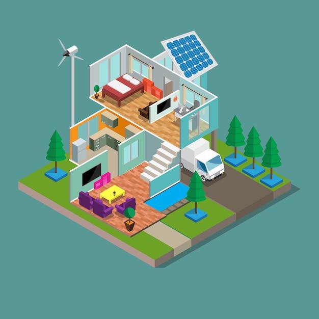3d isométrica moderna eco verde casa Vetor Premium
