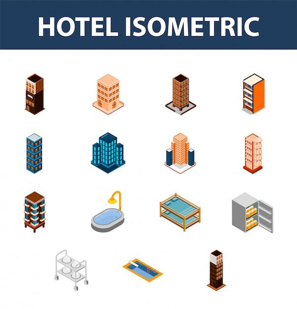 3d isométrico conjunto de ícone do hotel. Vetor Premium