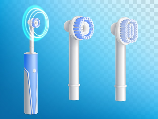 3d jogo realístico das escovas de dentes, bocais removíveis para o produto de higiene. Vetor grátis