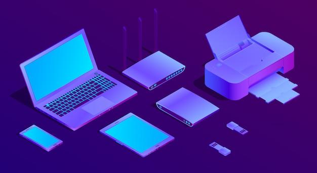 3d laptop ultravioleta isométrica, impressora Vetor grátis