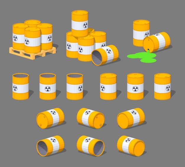3d lowpoly barris de metal isométricos com o lixo nuclear Vetor Premium