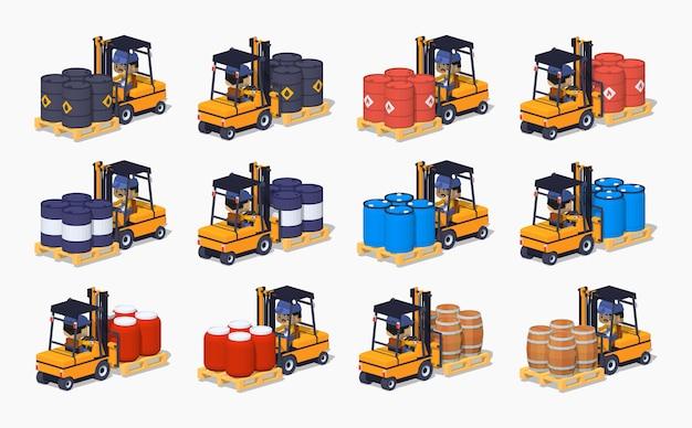 3d lowpoly conjunto isométrico do metal, plástico e barris de madeira nas empilhadeiras Vetor Premium